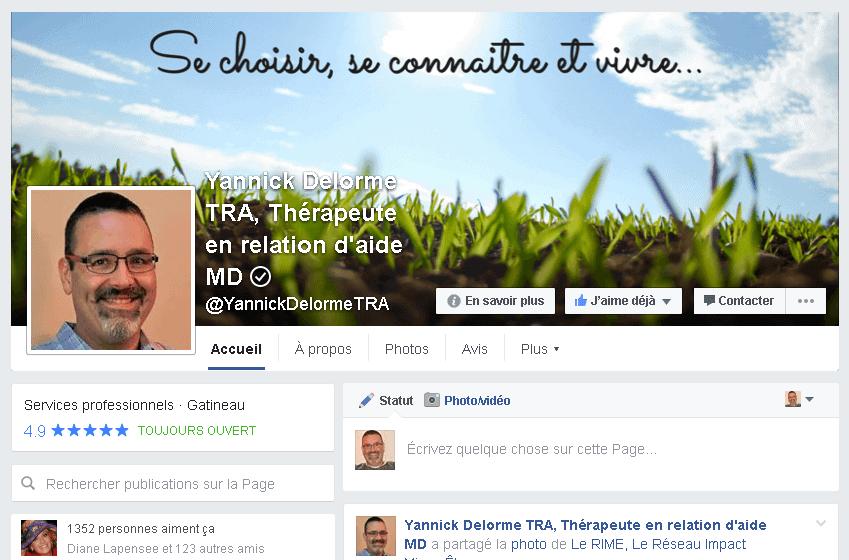 Je suis Yannick Delorme TRA, Thérapeute en relation d'aide et je vous invite à vous joindre à ma communauté Facebook
